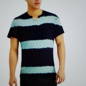 Men's INC striped split neck T-shirt.